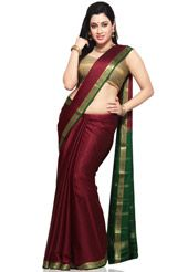 Maroon Pure Mysore Silk Traditional South Indian Saree with Blouse