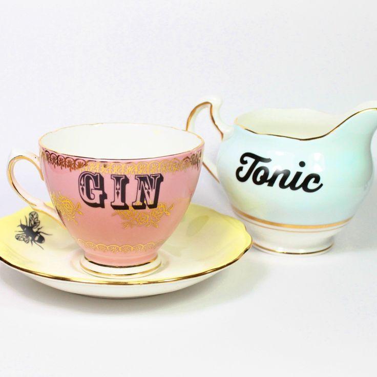 Adorable Gin & Tonic tea set -- I need this.