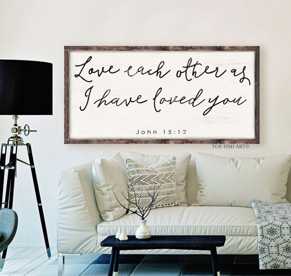 John 15:12  Scripture Sign  Bible verse  wooden sign by ToeFishArt
