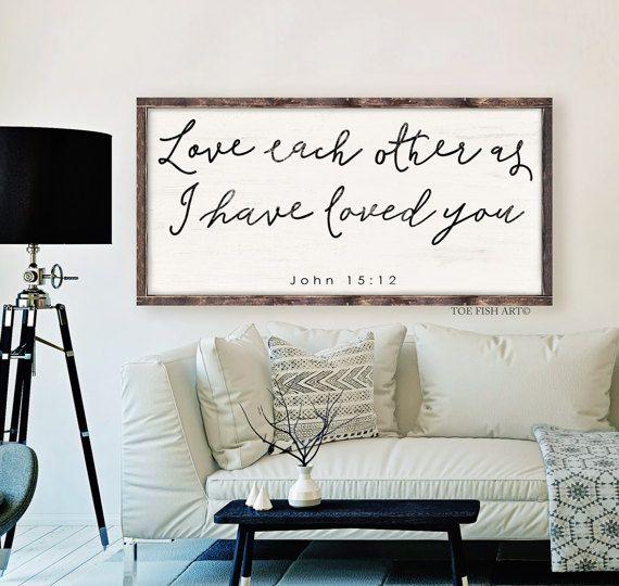 John 15:12  Scripture Sign  Bible verse  wooden sign by ToeFishArt