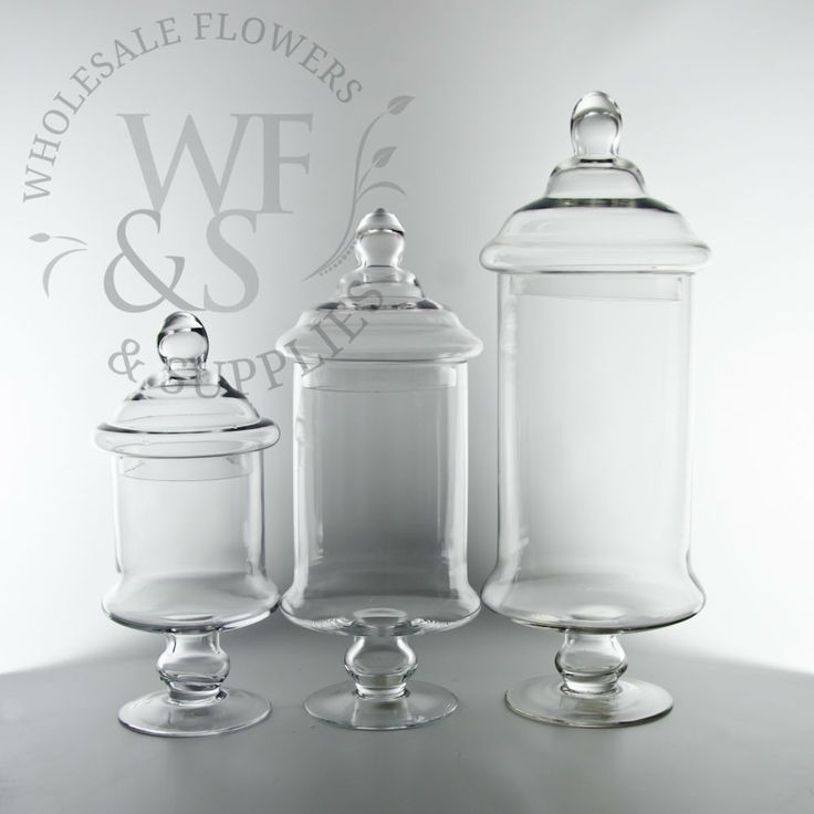 "Glass Cylinder Candy Jars, 12"",15""19"" Tall, with Lids. Wholesale Flowers and Supplies."