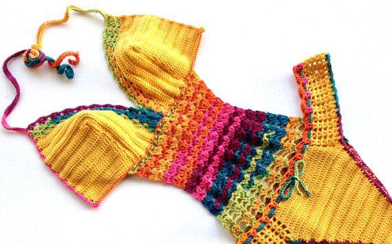EXPRESS SHIPPING Rainbow Crochet Monokini by senoAccessory on Etsy