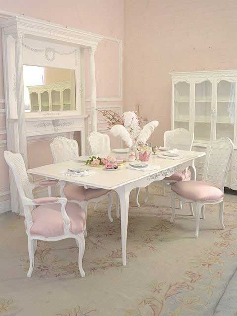 Shabby Chic Dining - I love this! It's pink and shabby chic but not too froufrou or granny chic