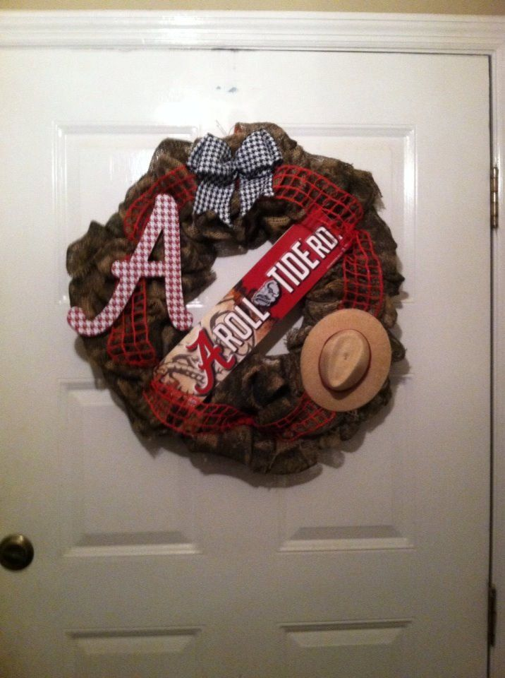 Camoflauge Alabama Roll Tide Burlap Wreath,Camo Bama Wreath,Camo Burlap Wreath,Camo Bama Burlap Wreath, Bama Camo Wreath,Camo Wreath - pinned by pin4etsy.com
