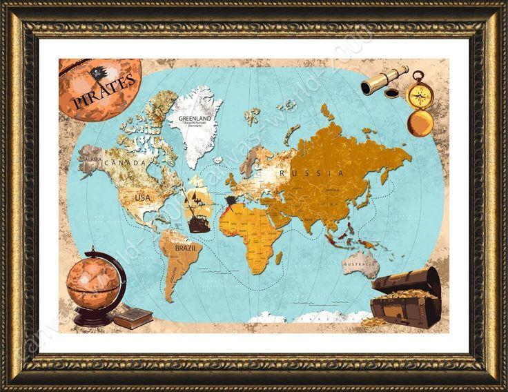 Best 25 framed world map ideas on pinterest world map wall art framed poster pirates old vintage world map for bedroom for living room frame sciox Gallery