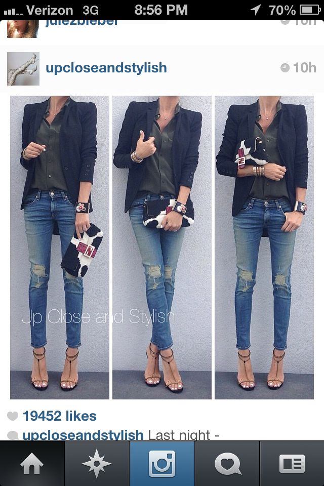 Blazer Jeans and Heals. Go to outfit
