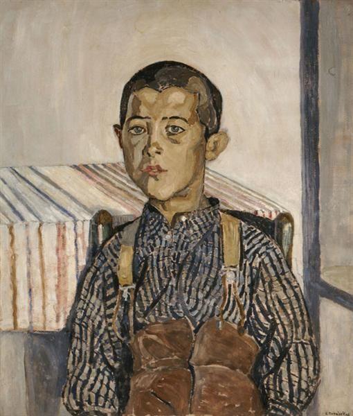 Boy wearing suspenders - Spyros Papaloukas ←  → Boy Wearing Suspenders Spyros Papaloukas Date: 1925 Style: Expressionism Genre: portrait
