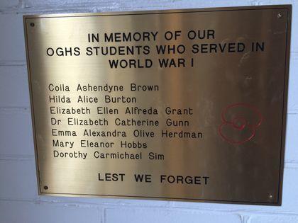 Otago Girls' High School Memorial Plaque - Historypin   Walking with an Anzac