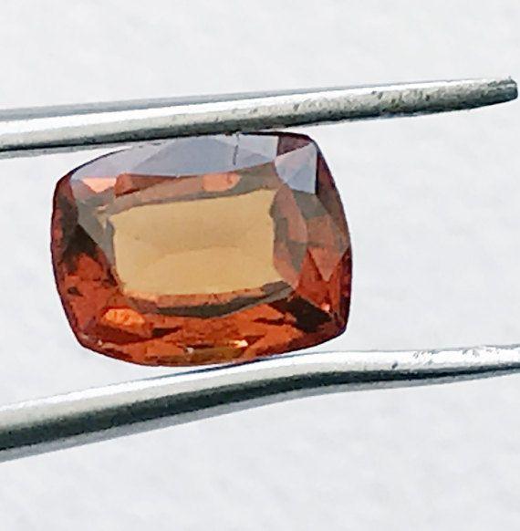 1 Pc 6x7.7mm Hessonite Garnet Faceted Princess by gemsforjewels