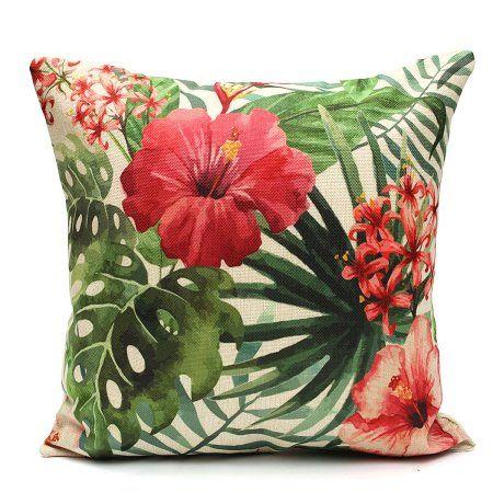 Tropical Plant Flamingo Cotton Linen Throw Pillow Case Cushion Cover Home Decor, Phalaenopsis color