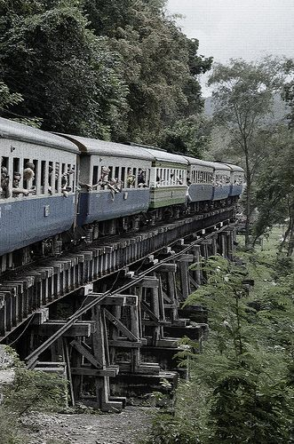Dödens järnväg, Kanchanaburi, Thailand by Åsa-Helene Bergwall on Flickr | 1942-1943 the Japanese forced 180,000 Asian laborers and 60,000 Allied prisoners of war to build a 415 km railway (death railway)  through the jungle from Bangkok in Siam to Rangoon in Burma. On route they build the bridge over the River Kwai.