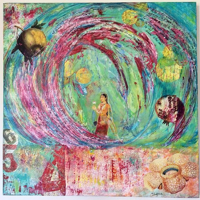 """The nine spheres"" Acrylic on canvas (50 cm x 50 cm) and handwritten Rumi poetry  Artist: Ifigenia Christodoulidou #mixedmedia #Ifigeniaart #ifigenia #acrylicpainting #rumi #rumipoetry"
