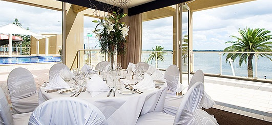 On the coast, on the waterfront, Rydges #PortMacquarie #Hotel The waterfront function rooms are a highly sort after wedding venue with a team of dedicated wedding coordinators on hand to assist with you every need. Catering for up to 300 guests banquet style in newly refurbished rooms.