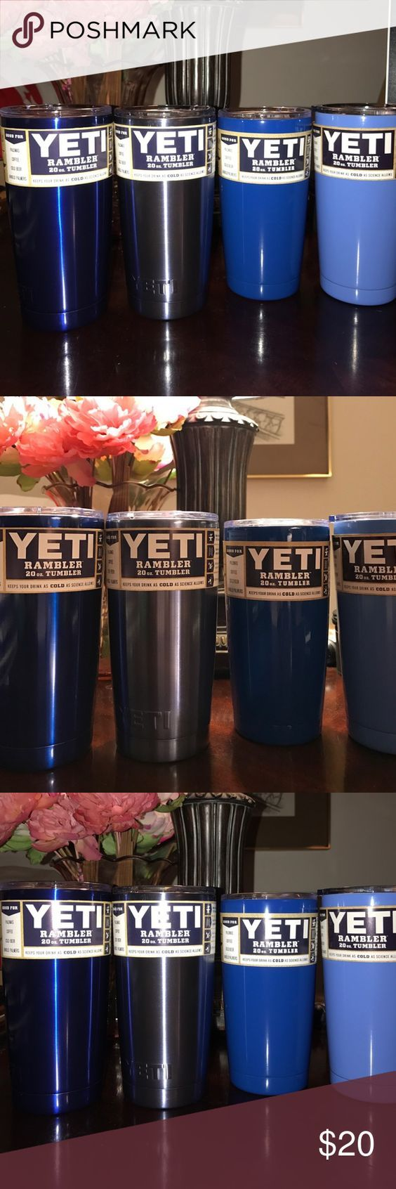 One Blue Yeti Rambler Tumbler 20 Ounce Color choice blue Metallic- light blue Metallic- Blue 0R Medium blue. 20 Ounce Rambler Tumbler by yeti- New Unused Authentic- warranty included Yeti Accessories