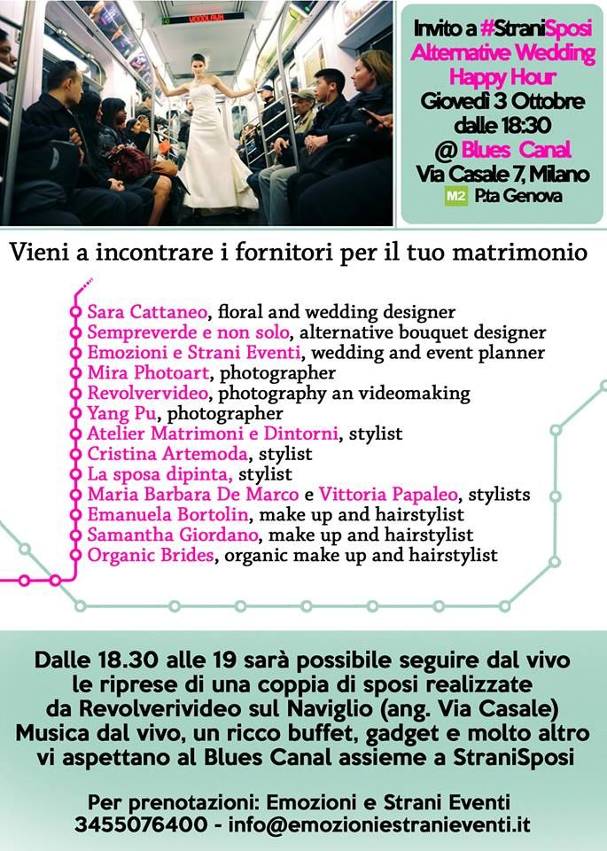 Cerchi i fornitori per il tuo matrimonio? Vieni a incontrarli all'happy hour di #StraniSposi https://www.facebook.com/events/411004055667776/