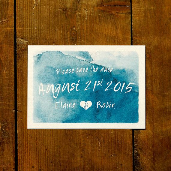 Personalised Watercolour With Border Wedding Save The Date Or Evening Hand