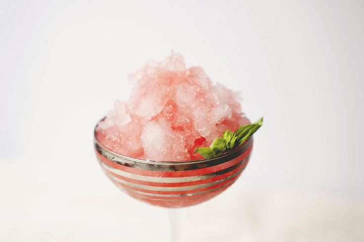 Coconut water shaved ice w/ strawberry basil syrup. YUM