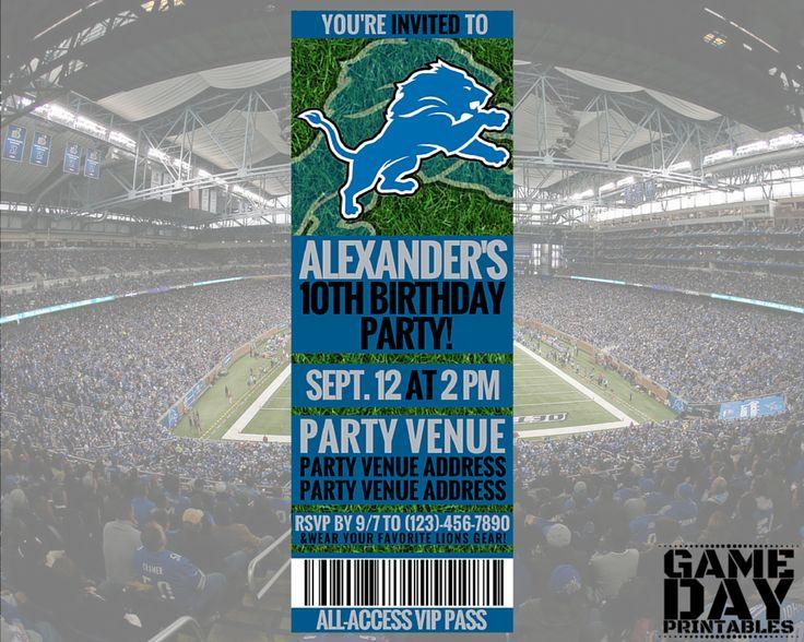 Detroit Lions Birthday Party Invitation - Gameday Printables on Etsy