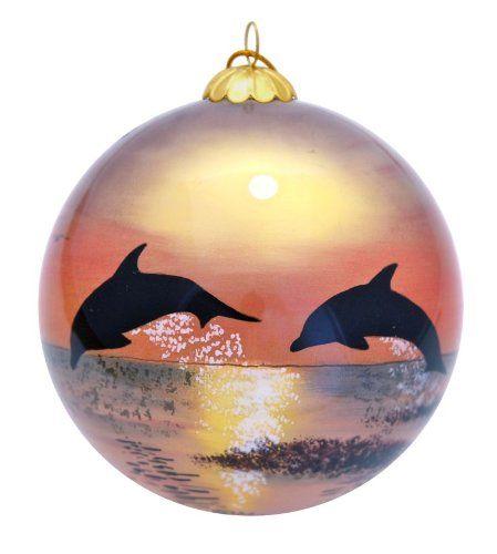 $19.95-$19.95 Hawaiian Dolphins and Sunset Christmas Ornament - This  collectible Christmas ornament of dolphins playing at sunset and th… - $19.95-$19.95 Hawaiian Dolphins And Sunset Christmas Ornament - This