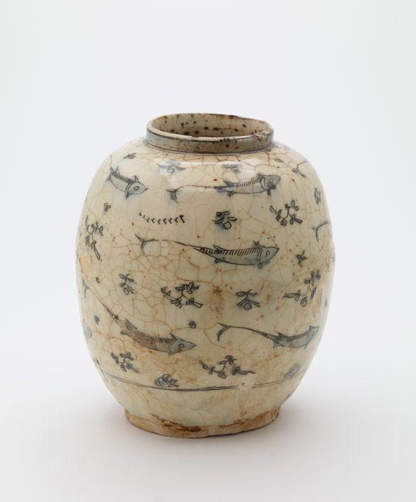Jar 18th century Stone-paste with underglaze painted decoration  H: 23.0 W: 19.7…