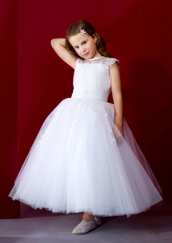 Newest Appliques First Communion Dresses for Girls Sleeveless Tulle Girls Pageant Dress Flower Girl Dresses for Weddings