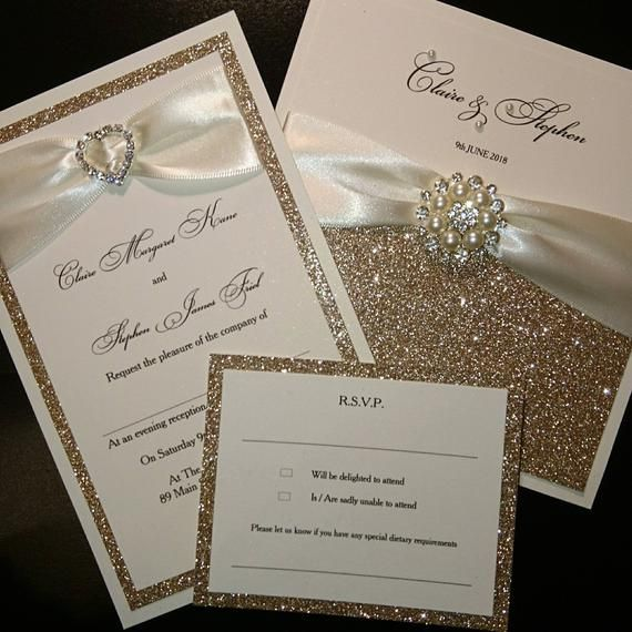 Partecipazioni Matrimonio Glitter.Champagne Gold Glitter Wedding Invitations Luxury Handmade Nozze