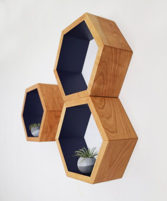 Honeycomb Cubby Shelves - Wall Shelving - Geometric Hexagon Shelves - Modern Eco Friendly Home Decor - Set of 3 Custom Medium Shelves