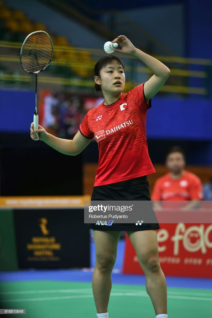 Nozomi Okuhara Of Japan Competes Against He Bingjiao Of China During Competing Badminton Japan