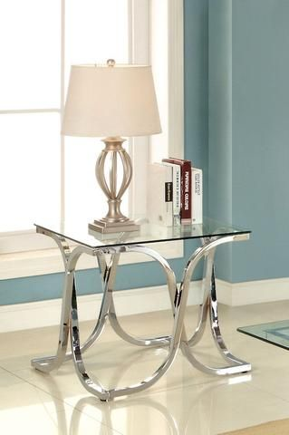 Loreane Glass Top End Table Chrome - Dazzling Spaces