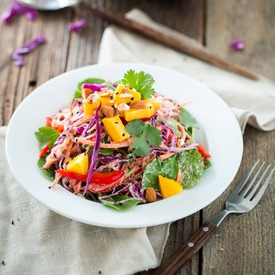 Rainbow Kelp Noodle Salad with Lemon Almond Ginger Dressing- a ...