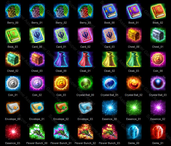 Basic fantasy themed Icons, suitable for RPG and Strategy games, include various consumable Item, potions, scrolls, chest and many more. Contain wide variety of items. Can be renamed to match the items in your game.