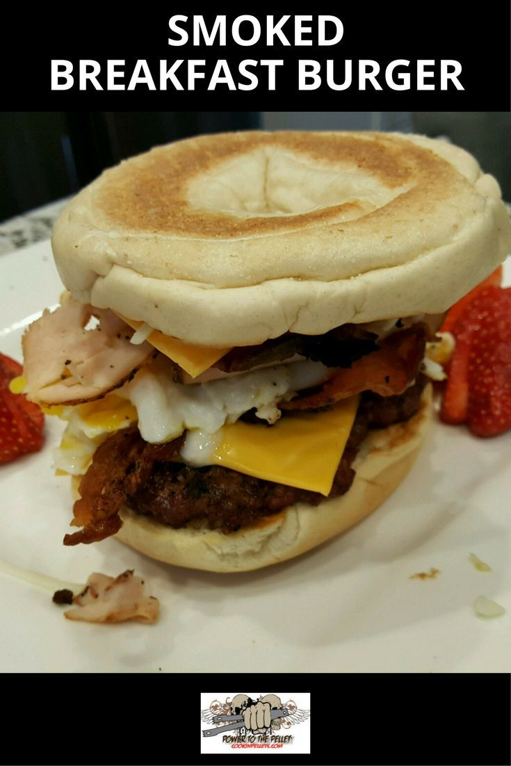 Smoked Breakfast Burger!     Ingredients:  Bagel, 1/4lb burger, 3 strips bacon, 2 cheese slices. onions, 1 egg, mozzarella     Instructions:  Toast the bagel on a cookie sheet on your grill at 325 using Perfect Mix for 10 minutes. Cook your egg on the cookie sheet as well. Using our Frogmat cook the bacon on the grill at 325 using Perfect Mix for 20 minutes. Cook the burger until it is done to your liking.