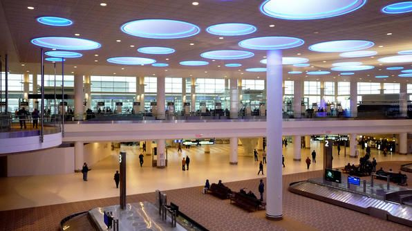 Renowned architect César Pelli drew his inspiration from the vast prairies and sky when he conceived of this terminal, the first freestanding airport building in Canada that's LEED-certified.