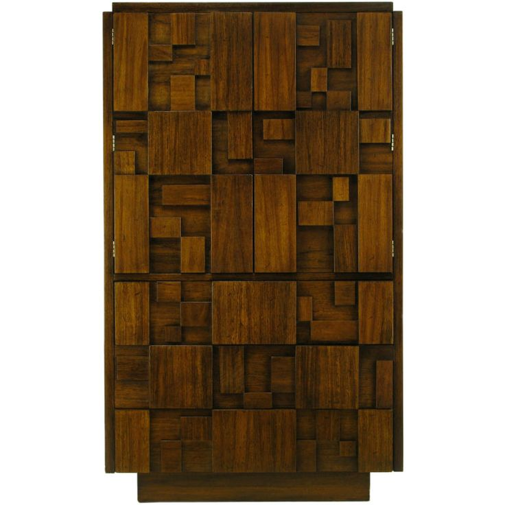 Tall Walnut 1960s Cabinet With Patchwork Block Front
