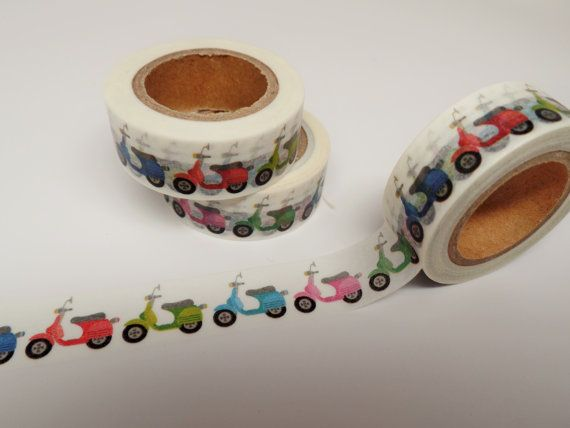 1 Roll of Vespa Moped Scooter Washi Tape