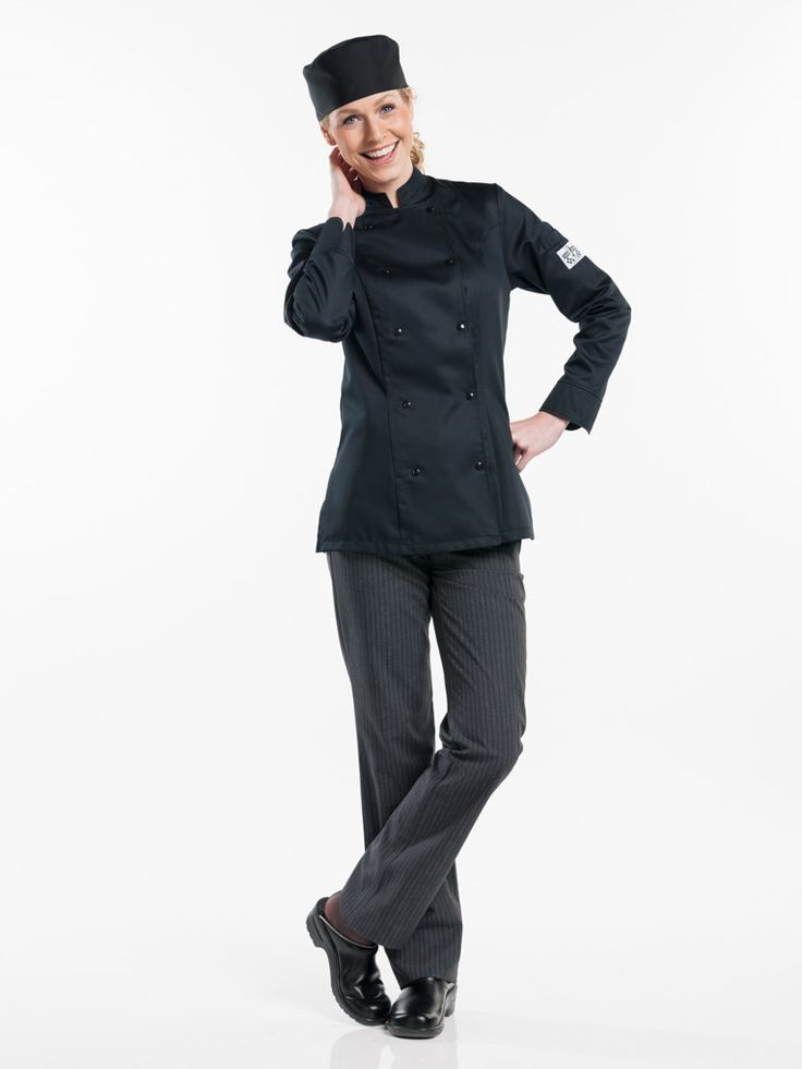 # 228 Chef jacket Lady Comfort Black - This ultimate Tailored Fit jacket was specially designed for ladies. Besides the elegant tailored fit, the female version is identical to our Comfort and Roma jacket. This means: a double panel with visible snap fasteners and an elegantly finished cuff. The side splits provide ample freedom of movement. The jacket is available in black and white.  Tailored Fit Visible fastening - Press buttons Perfect fit for ladies