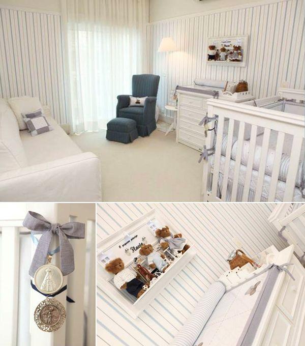 Decoração quarto de bebê menino azul e branco listra