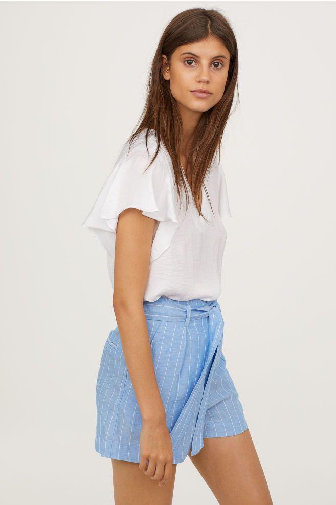 f74189823e1c7 Short-sleeved satin blouse