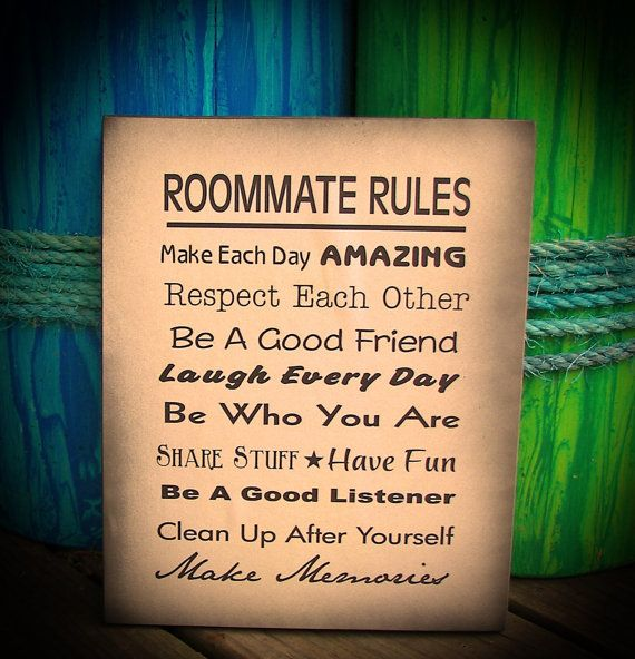 Roommate Rules - Great for Dorm Room at College or Apartment Wood
