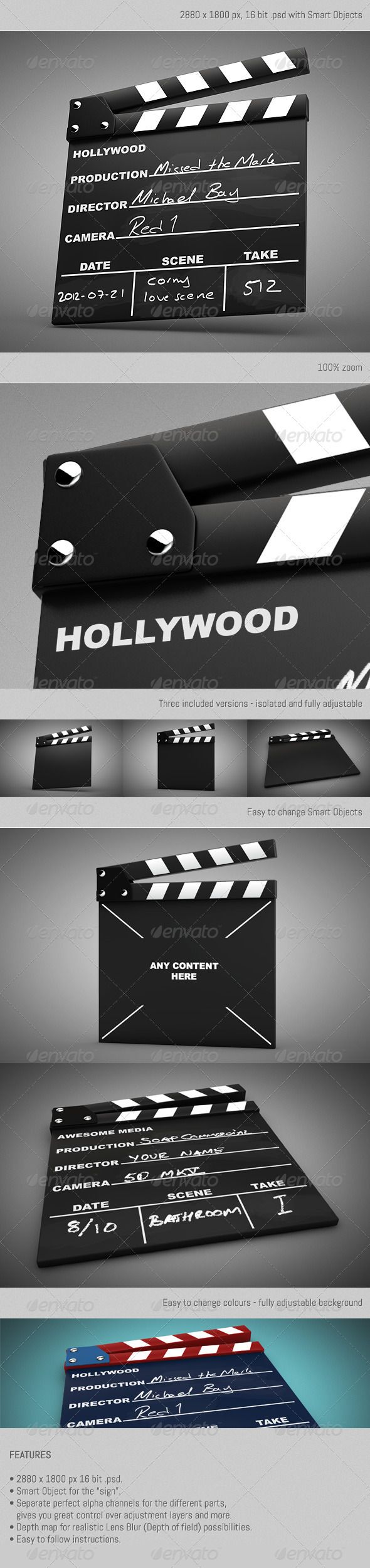 "Movie Clapper Kit  #GraphicRiver         Contains three versions of a movie clapper with easy to customize Smart Objects. The graphics shown in the preview (""Production"", ""Director"", ""Camera"" etc) is included as layers within the Smart Object.  	 All parts of the clapper has separate alpha channels – which gives great flexibility over adjustment layers. We've prepared a couple of Hue/Saturation adjustment layers, for your colorization needs.  	 You're the director of;  	 • Three separate…"