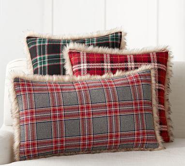 Nottingham Plaid W Faux Fur Back Pillow Cover Christmas