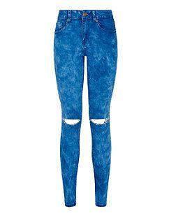 Jean skinny ado bleu délavé à l'acide avec genoux déchirés | New Look