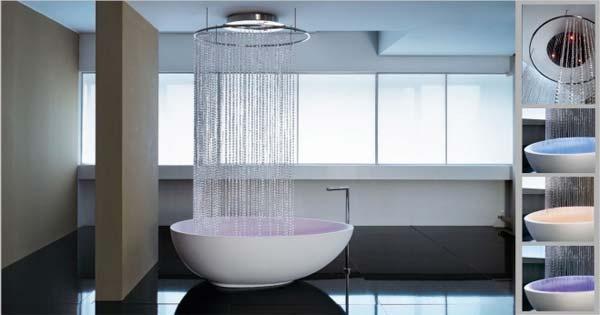 waterfall shower over tubBathroom Design, Rain Shower, Bath Tubs, Shower Head, Modern Bathroom, Showerhead, Bathtubs, Bathroom Ideas, Shower Curtains