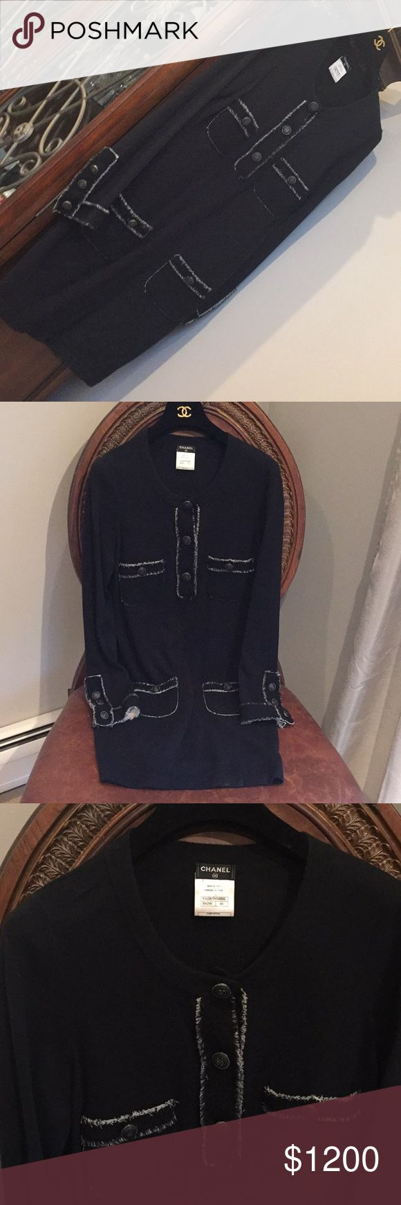 Authentic Chanel Cashmere dress, Authentic Chanel Cashmere dress, Black, knee length, four packets,  Long sleeves. Great with leggings or boots. Used a few times with care. Size 40 Excellent condition. CHANEL Dresses Long Sleeve
