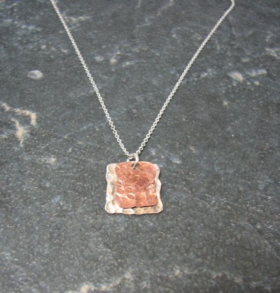 Silver and Copper Square Pendant UPCYCLED by melmacdesigns on Etsy, $21.00