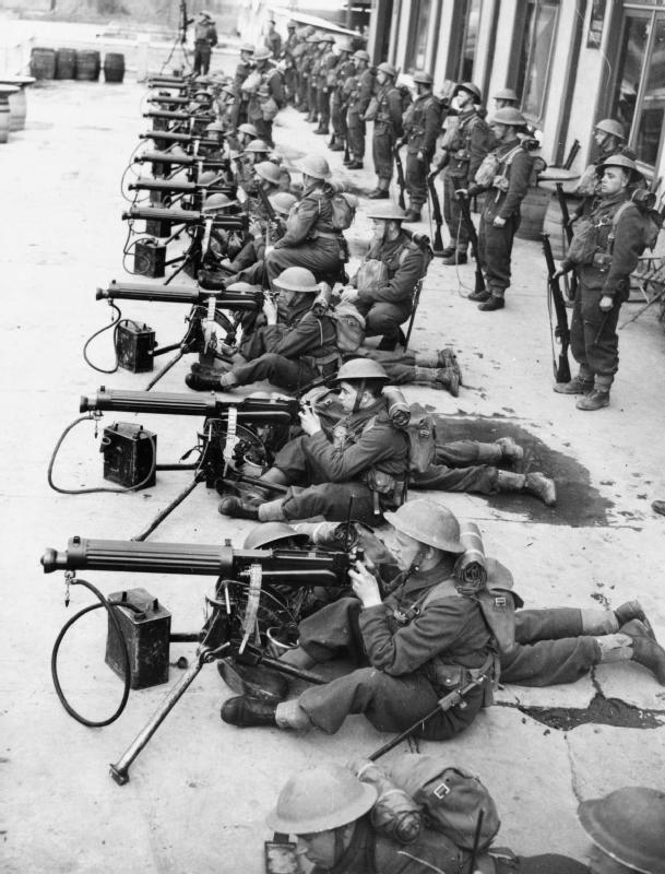Vickers machine guns of the British 7th Battalion Cheshire Regiment, 1st Division, at Aubigny-au-Bac, France. (March 23, 1940, F 3273)