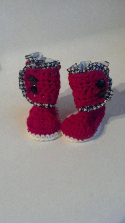 Baby Girl Boots / Ruffle Baby Booties / Houndstooth Ruffle on Alabama Red and White - Newborn - 6 months Baby Girl Crochet Shoes on Etsy, $24.00