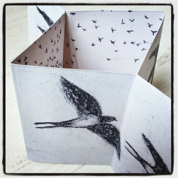 Little #silent #book with #swallows (available in my Etsy shop!) #selfpublishing #zine #book #redboots