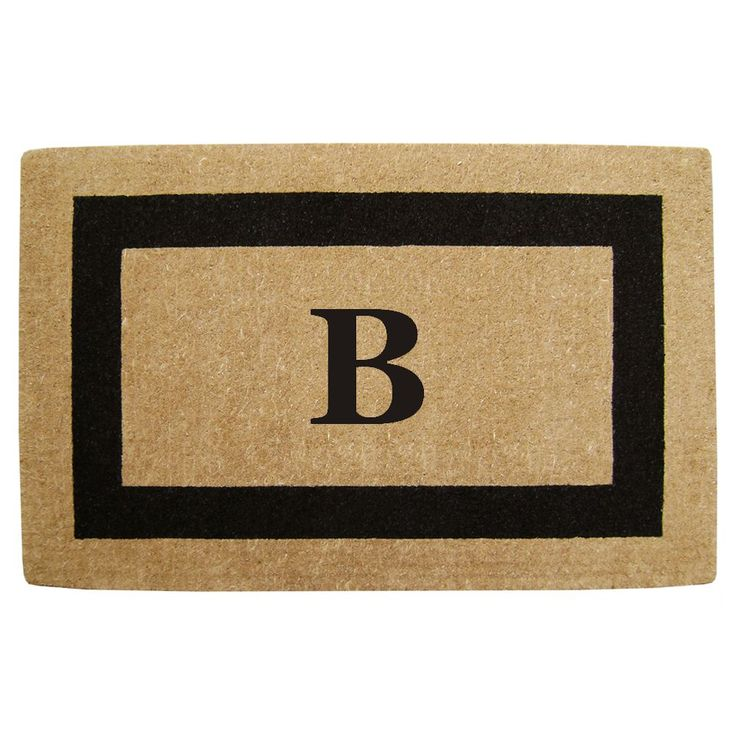 Enterprises Elegant Heavy Duty Coir Monogrammed Black Door Mat (22 in. x 36 in. Black Monogrammed B)