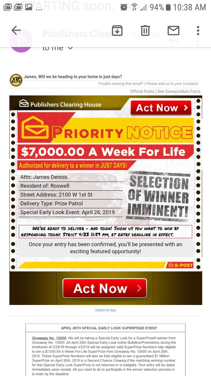 PCH I RROJAS CLAIM ACT NOW TO MY PRIORITY NOTICE  SELECTION OF